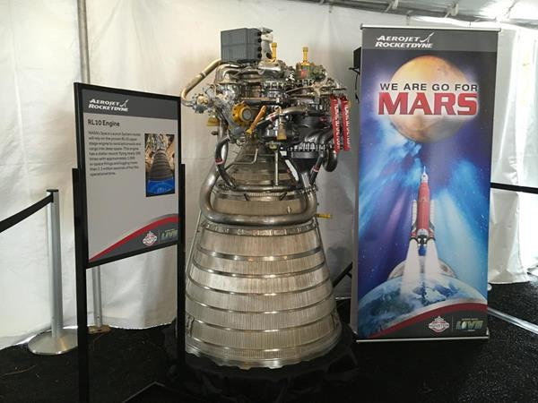 Aerojet Rocketdyne displays the NASA Space Launch System rocket's upper-stage engine, the RL10, at Future Flight in Houston, TX.