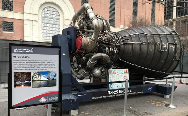 The RS-25 engine, developed and manufactured by Aerojet Rocketdyne, is on display at Future Flight in Houston, TX. Four RS-25 engines will power the core stage of the world's most powerful rocket, NASA's Space Launch System.