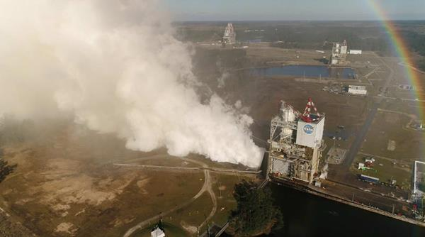 NASA drone captures imagery of the RS-25 Engine, built by Aerojet Rocketdyne, while it is tested at NASA's Stennis Space Center