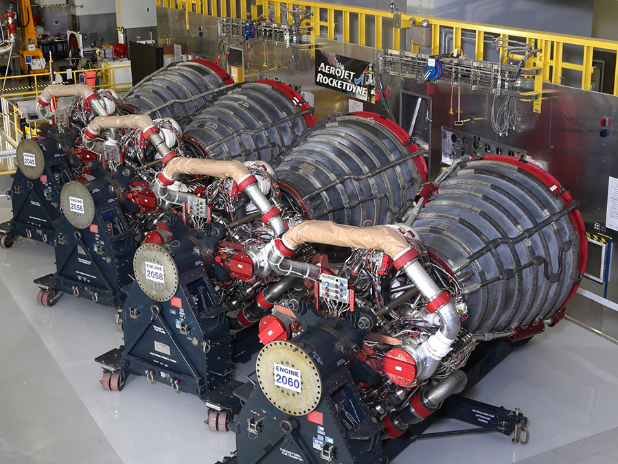 Aerojet Rocketdyne displays the four RS-25 engines slated to fly on EM-1, the maiden flight of NASA's SLS rocket, at its facility located at NASA's Stennis Space Center