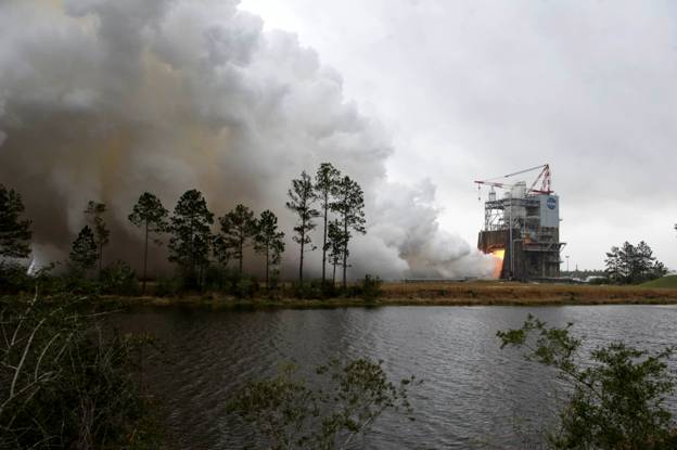 RS-25 Engine Test at NASA's Stennis Space Center Photo Credit: NASA
