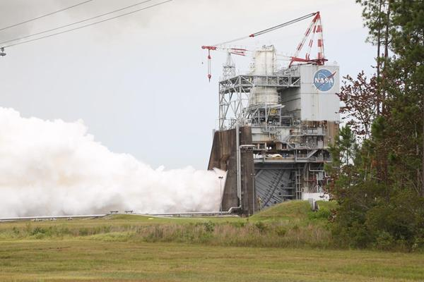 Aerojet Rocketdyne tests the third RS-25 flight controller on a developmental engine at NASA's Stennis Space Center on July 25, 2017