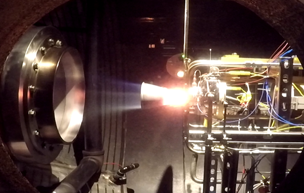 Hot-fire test of Aerojet Rocketdyne's ISE-100 thruster conducted at the company's Redmond, Washington test facility