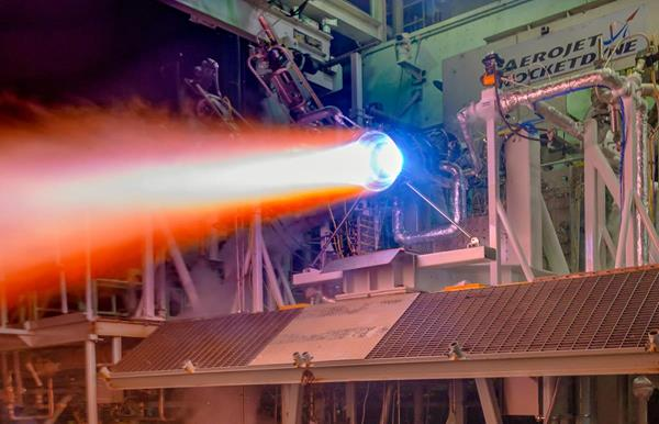 A re-generatively cooled, 3-D printed thrust chamber assembly for the next generation of RL10 rocket engines undergoes hot-fire testing at Aerojet Rocketdyne's facility in West Palm Beach, Florida