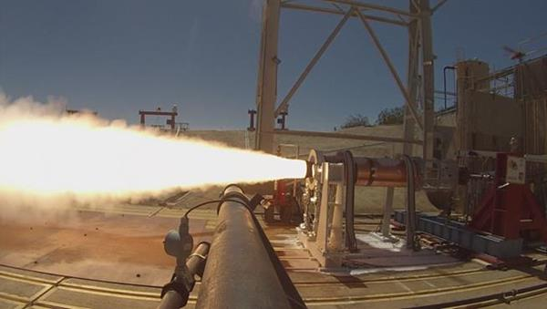 An Aerojet Rocketdyne solid rocket motor that had been conditioned to mimic an extreme cold-soak condition for air-launch application recently completed successful hot-fire testing at AFRL at Edwards Air Force Base in California