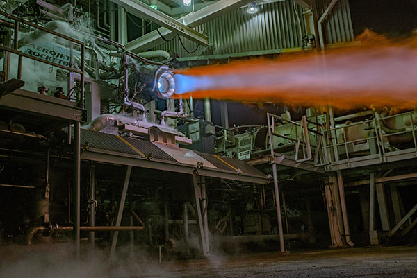 An Aerojet Rocketdyne RL10C-X prototype engine, which includes 3-D printed core components, undergoes hot-fire testing at Aerojet Rocketdyne's facility in West Palm Beach, Florida
