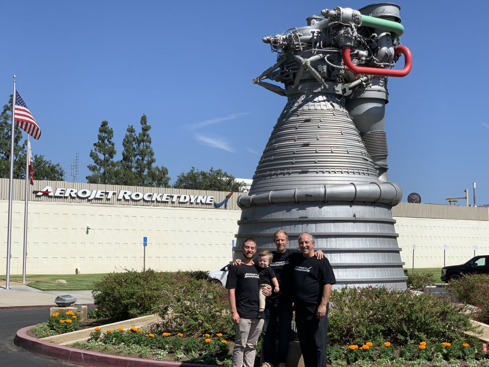 Pictured from left to right in front of the F-1 engine at Aerojet Rocketdyne's Canoga Park facility: Kyle Fordyce, his son Shaun, Jason Fordyce and Mike Fordyce.