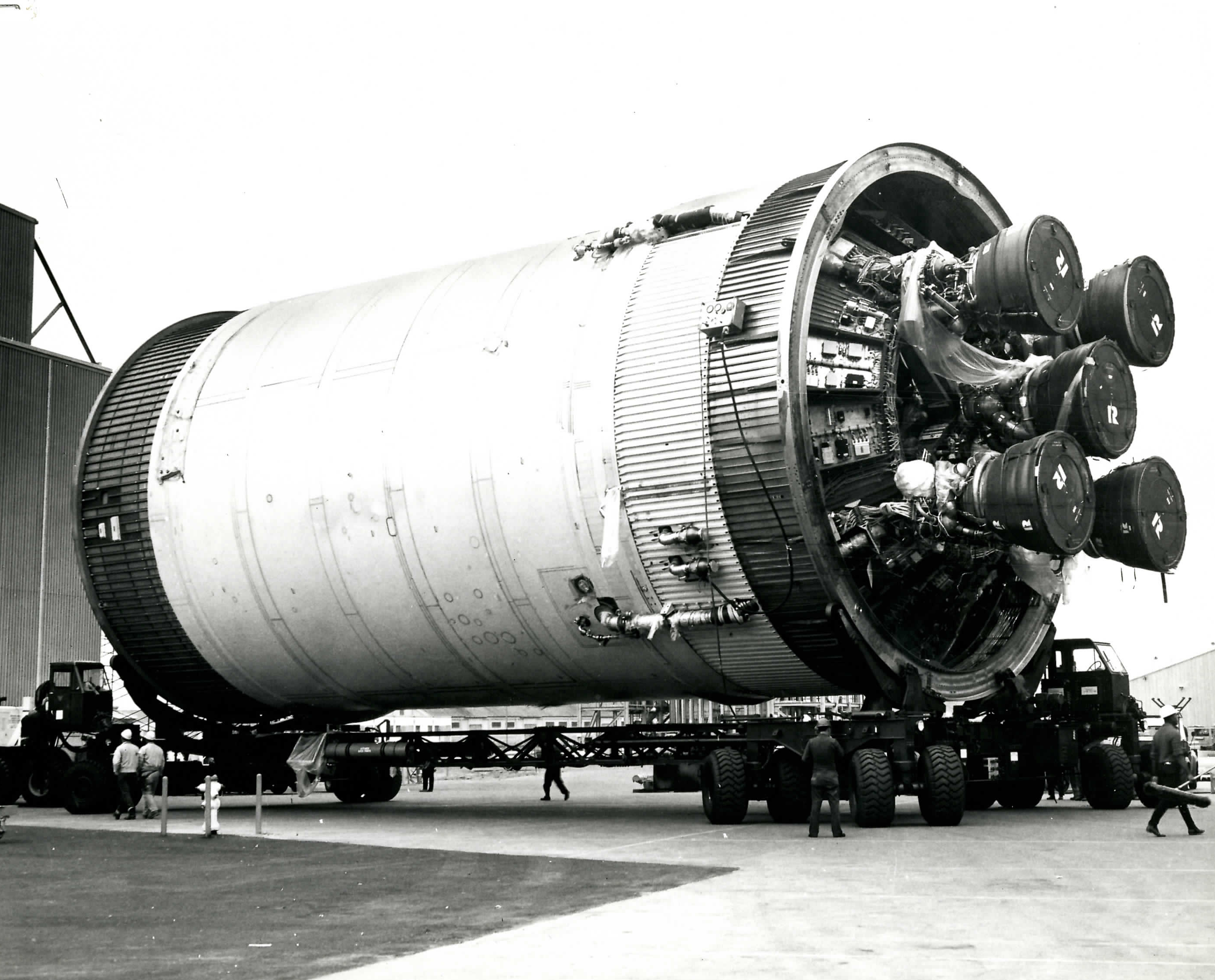 J-2 Apollo Engine – Five J-2 engines are installed on the second stage of the Saturn V vehicle. Combined, the engines produced more than 1 million pounds of thrust that took astronauts to the moon on the Apollo 11 mission.