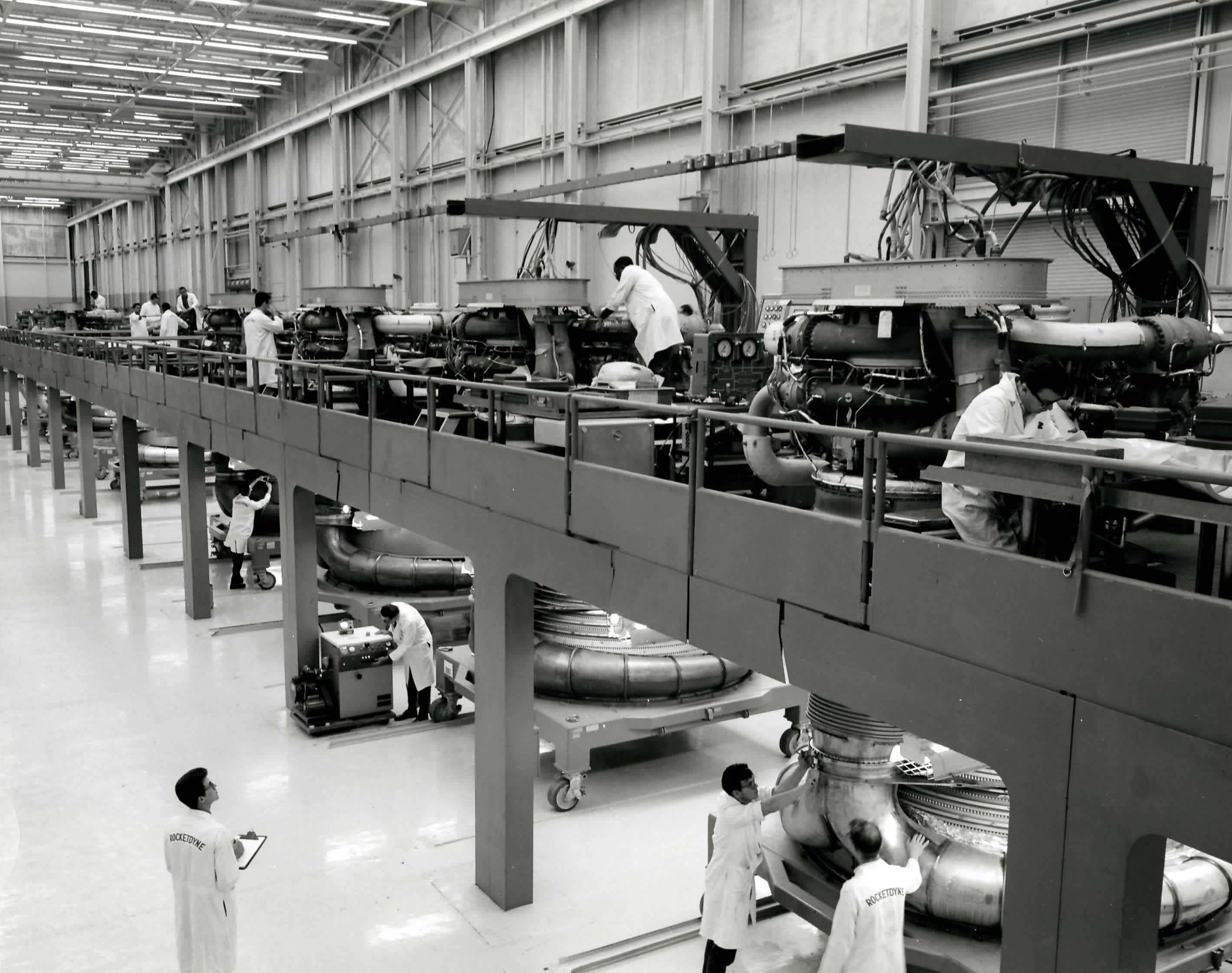F-1 Assembly – Archive photo of the F-1 assembly line at Aerojet Rocketdyne's Canoga Park, California facility. Five F-1's were used to launch the enormous Saturn V vehicle on the Apollo 11 mission.