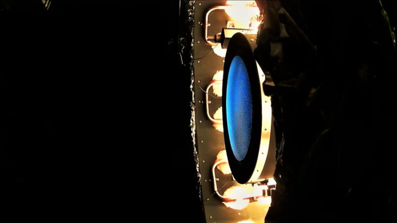 NEXT-C thruster during thermal vacuum testing at NASA's Glenn Research Center