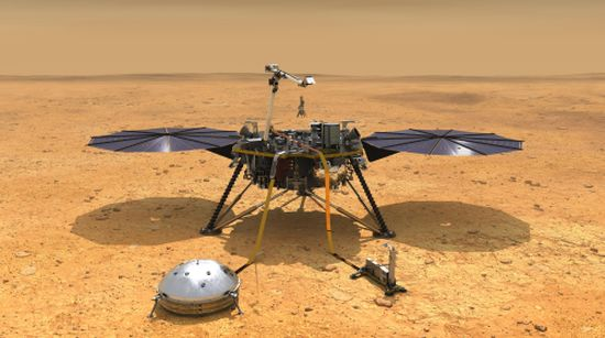 This illustration shows NASA's InSight spacecraft with its instruments deployed on the Martian surface. Credit: NASA/JPL-Caltech