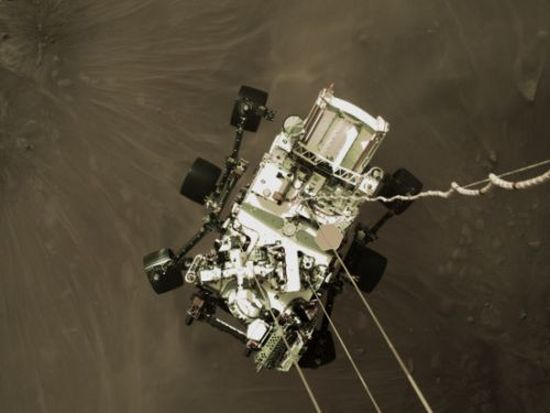 Perseverance Rover being lowered to the surface of Mars on February 18. Credit: NASA/JPL