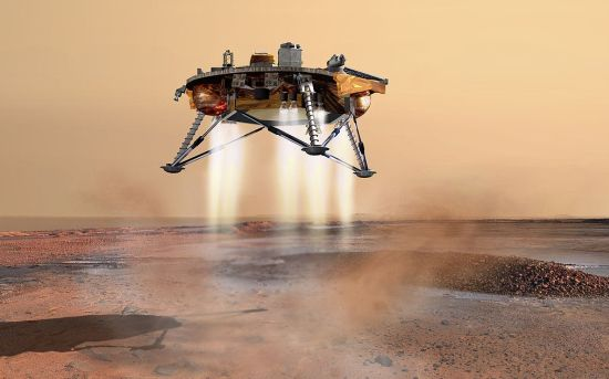 Animation of the Mars Phoenix lander descending to the surface by Aerojet Rocketdyne propulsion. Credit: NASA/JPL