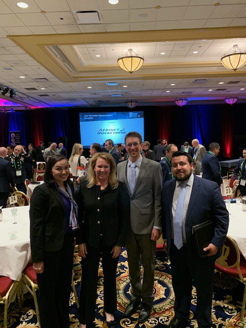 Aerojet Rocketdyne sponsored the New Gen Reception honoring the industry's young leaders.  Here, our CEO and president Eileen Drake, second from left, visits with attendees.