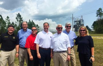 At RS-25 engine test at NASA's Stennis Space Center 8/14/18: U.S. Rep. Steven Palazzo; U.S. Rep. Trent Kelly; Stennis Dir Richard Gilbrech; NASA Admin Jim Bridenstine; U.S. Senator Roger Wicker; Miss. Gov. Phil Bryant; and AR CEO & Pres Eileen Drake