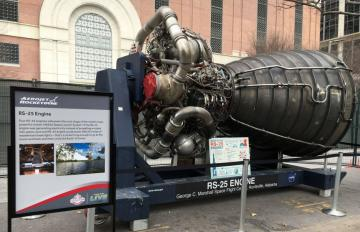 Jan. 27, 2017 - The RS-25 engine, developed and manufactured by Aerojet Rocketdyne, is on display at Future Flight in Houston, TX. Four RS-25 engines will power the core stage of the world's most powerful rocket, NASA's Space Launch System.