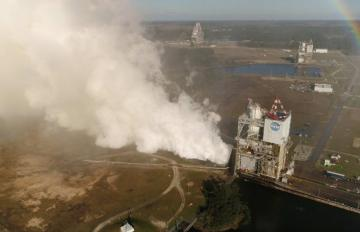 Feb. 22, 2017 - NASA drone captures imagery of the RS-25 Engine, built by Aerojet Rocketdyne, while it is tested at NASA's Stennis Space Center
