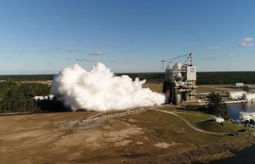 Feb. 22, 2017 - NASA drone captures closer imagery of the RS-25 Engine, built by Aerojet Rocketdyne, while it is tested at NASA's Stennis Space Center