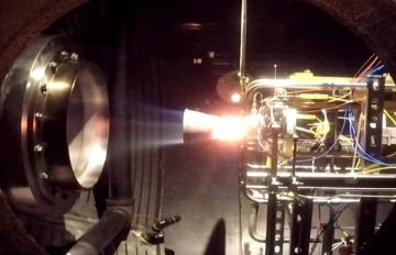 May 23, 2018 - Hot-fire test of Aerojet Rocketdyne's ISE-100 thruster conducted at the company's Redmond, Washington test facility