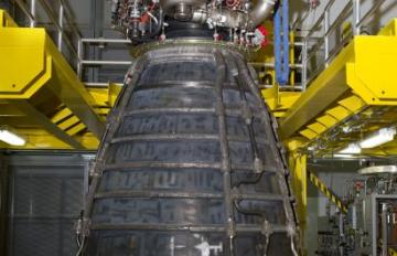 June 4,2018 - Aerojet Rocketdyne completed assembly of its first AR-22 rocket engine, shown at Stennis Space Center facility. It was built for Boeing as part of the U.S. Defense Advanced Research Projects Agency Experimental Spaceplane program