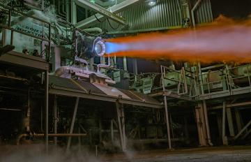 April 8, 2019 - An Aerojet Rocketdyne RL10C-X prototype engine, which includes 3-D printed core components, undergoes hot-fire testing at Aerojet Rocketdyne's facility in West Palm Beach, Florida