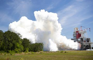 Aerojet Rocketdyne's RS-68A rocket engine successfully completed its final acceptance test April 12, 2021, on the B-1 test stand at NASA's Stennis Space Center in Mississippi. Credit: NASA Stennis