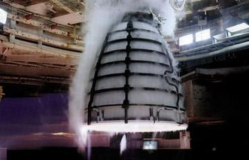 Close up from inside the A-1 test stand at NASA's Stennis Space Center during a test of RS-25 development engine 0525 on August 13, 2015. Four RS-25 engines will power NASA's Space Launch System.