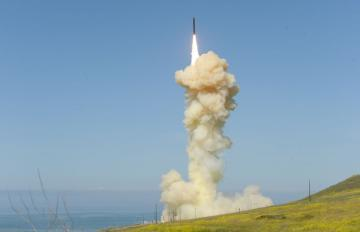 The 'lead' Ground-based Interceptor, launched from Vandenberg Air Force Base, Calif., March 25, 2019, in the first-ever salvo engagement test of a threat-representative ICBM target. Credit: MDA