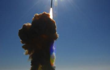 A Ground-Based Interceptor is shown shortly after liftoff from Vandenberg AFB, California, on Dec. 5, 2008. Photo is of interceptor launch. Credit: MDA