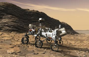 Artist's concept of NASA's Perseverance Rover. Perseverance's power source, a Multi-Mission Radioisotope Thermoelectric Generator (MMRTG) provided by Aerojet Rocketdyne, is visible at the aft end of the rover. Image Credit: NASA/JPL-Caltech