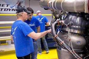 July 10, 2018 - Aerojet Rocketdyne technicians inspect the first AR-22 rocket engine at the Aerojet Rocketdyne facility located at Stennis Space Center.