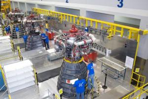 RS-25 engine inspection inside the engine assembly room at Aerojet Rocketdyne's Stennis Space Center Facility (August 2015). 2 of 3