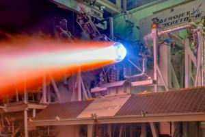 June 13, 2018 - A re-generatively cooled, 3-D printed thrust chamber assembly for the next generation of RL10 rocket engines undergoes hot-fire testing at Aerojet Rocketdyne's facility in West Palm Beach, Florida