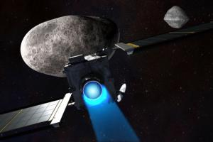 Animation of the DART Spacecraft approaching a small moon orbiting Asteroid Didymos. Photo Credit: NASA/Johns Hopkins Applied Physics Lab
