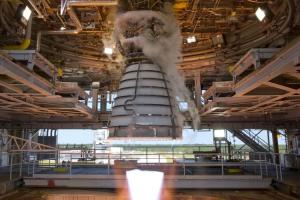 RS-25 engine test close up from inside A-1 test stand at NASA's Stennis Space Center. Photo taken Aug 13, 2015.