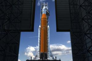 Artist rendition of NASA's Block 1 Space Launch System from inside the Vehicle Assemble Building (VAB) at NASA's Kennedy Space Center. Image courtesy of NASA.