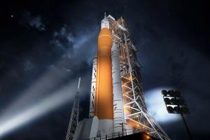 Artist rendition of NASA's Block 1 Space Launch System on the launch pad. Image courtesy of NASA.
