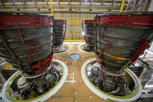 Nov. 6, 2019 - Four RS-25 engines attached to the core Stage for NASA's Space Launch System rocket for NASA's Artmis I mission to the Moon. Image courtesy of NASA.