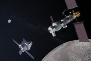 NASA's Gateway will serve as an operational outpost in orbit around the Moon. Aerojet Rocketdyne's AEPS thrusters will be employed on Gateway's Power & Propulsion Element. Credit: NASA