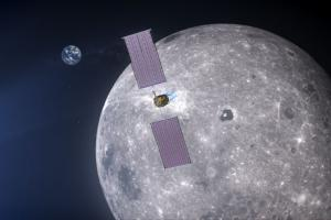 Illustration: Power & Propulsion element provides communications relay for Gateway. Credit: NASA