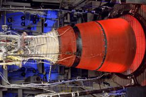 The second stage of Delta IV Heavy is a five-meter Delta Cryogenic Second Stage (DCSS), powered by an RL10B-2 engine. Then engine features the world's largest carbon-carbon extendible nozzle.